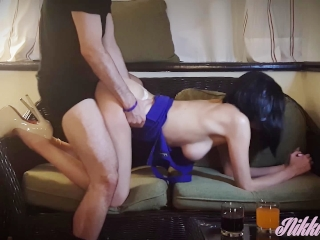 WHAT A BABE...! Hot Wife Nikki in tight blue dress fucked and creampied!