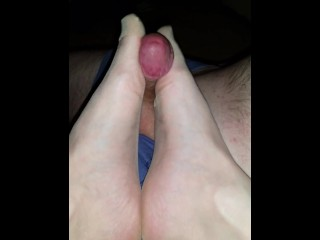 Panty hose foot job with cumshot