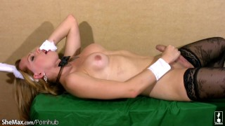 And wanks in rabbit shemeat costume whips blonde out shebabe lips balls