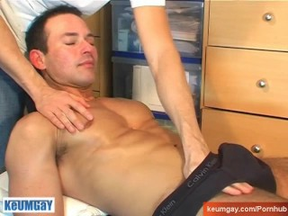 Marco, innocent delivery guy serviced his big cock by a guy!