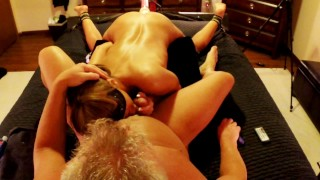 HOT WIFE HAS 3 WAY WITH HUSBAND AND STRYKER DILDO FUCK MACHINE swallows