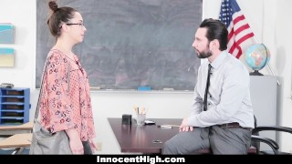 InnocentHigh - Trouble Maker Student Sucks Cock To Get Out Of Trouble