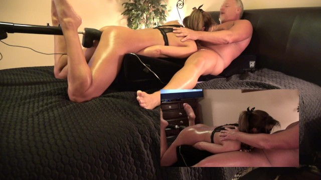 Milf squirt vid - Hot wife has 3 way- husband and thick black dildo fuck machine - pip vid
