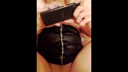 Hot wife msgs lover while hubby fucks her arse.