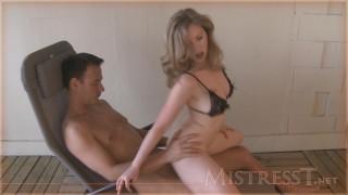 mistress t handjob tits
