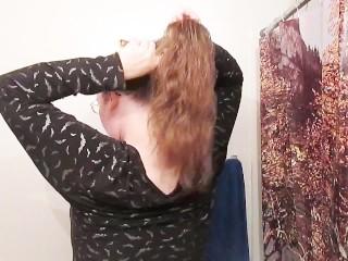 Hair Journal Combing Long Curly Strawberry Blonde Hair - Week One (ASMR)