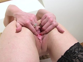 PJGIRLS Violeta's pussy gaping show – Wet, juicy vagina ripples and folds