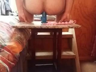 having fun with my 10 inch dildo