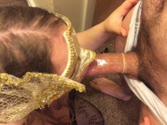 Wife gives husband a blowjob with condom