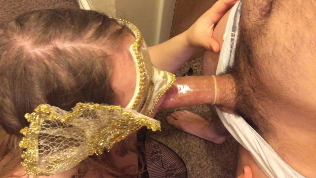 Woman putting a condom in - Wife gives husband a blowjob with condom
