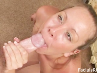 Slut housewife chokes down your cock and takes your load in the face