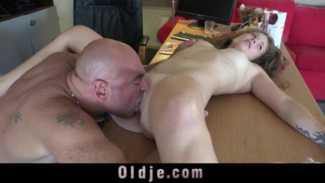 Busty Blonde Teen Old Man