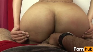 Huge booty tranny loves teasing dick