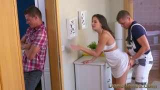 By wife dane cheating fucked is jones and brunette creampied plumber cock female