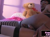 Solo masturbating ebony femboy spreads ass
