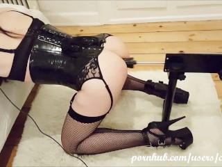 Sissy fucked hard, deep and long by fucking machine as sex slave and nurse
