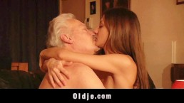 Old man fucked me my tight young pussy I swallow and lick his cum