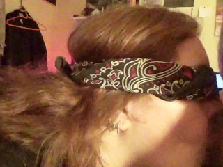 blindfold bj doggy facial swallow