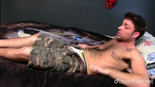 Adam Gets out of his Camos and Strokes his Straight Cock