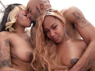 Big butt ebony lesbians pleasure each other then fucked by big dick