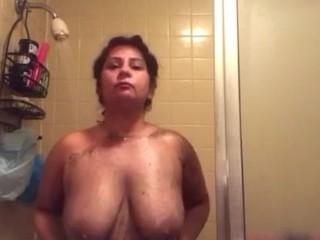 Showering big tits w/ scrub part 3