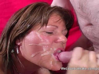 Older English mature wife accepts several cumshots over her face