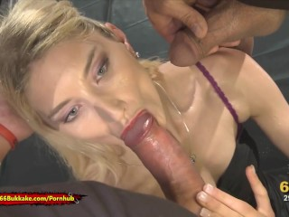 Skinny Blonde whore is thirsty for Pee - 666Bukkake