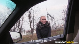 StrandedTeens Fit Hitchhiker in Nude Stockings