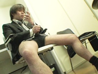 Japanese businessman takes off pants and jerks off...