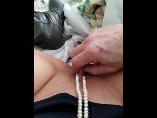 pearls around my clit - shaved pussy - clit being rubbed