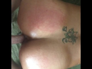 Sexy oiled up ass and pussy + cock