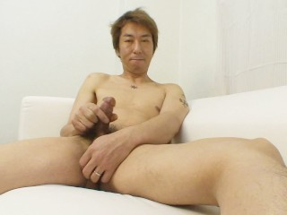 Japanese DILF strips down and tugs his cock