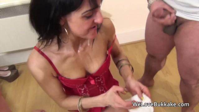 Little petite brunette amateur taking cum loads to her face 1