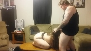 Mess a horny a cums husband to tit big brunette home wife aggressive