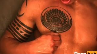 For  cock crazy scene latino showering
