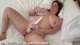 All Natural Busty Babe Maggie Green Fucks Hitachi!