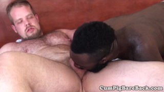 Black bear barebacked in raw trio Jerking gay