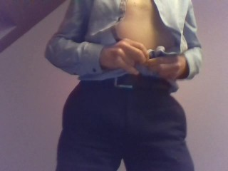 Stripping from suit to nude