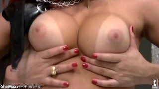 Red hair shemale squeezes round breasts and strokes shecock