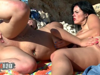 Anal threesome beach with the wife and found...
