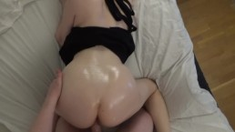 Tight redhead gets her big ass oiled up