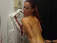 Amateur risky blowjob and fuck in a public changing room with courtain
