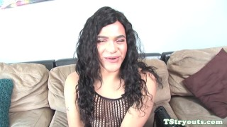 Jerking cock tgirl solo amateur casting her shemale tranny
