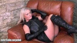 Sexy blondes with big tits tease in leather and horny Honey plays with clit