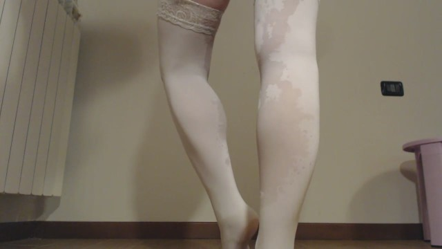Pee in doggy on the legs with stockings 25