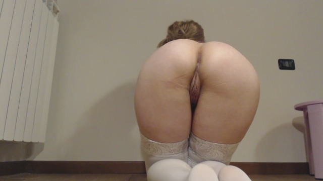 Pee in doggy on the legs with stockings 1