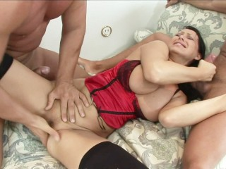 MILF in lingerie gets double vaginal from her husband and his friend