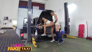 Female Fake Taxi Sexy minx gets down and dirty with stud at garage