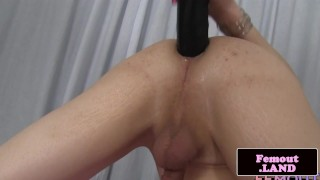 Pigtail femboy toys her ass with big dildo