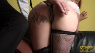Squirts fingerfucked milf sub while british redhead spanking